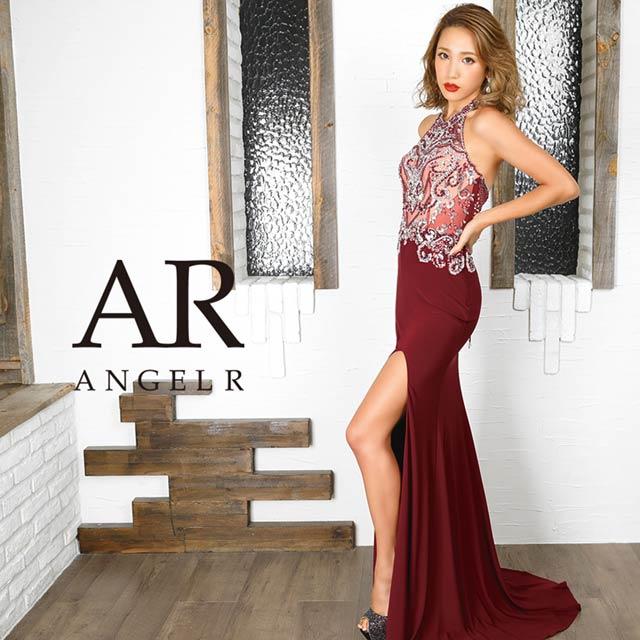 [AngelR]ビジューデザインスリットタイトロングドレス[AR9835]