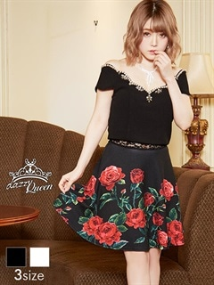 [SMLサイズ]薔薇柄スカラップオフショルAラインミニドレス[3サイズ展開]