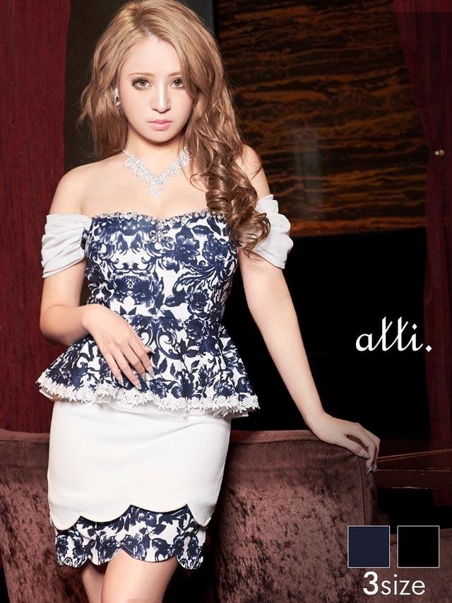 [SMLサイズ]裾2段デザインカット花柄オフショルダーぺプラムタイトミニドレス[3サイズ展開]