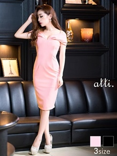 [SMLサイズ]ワントーンキャミオフショルタイトドレス[3サイズ展開]