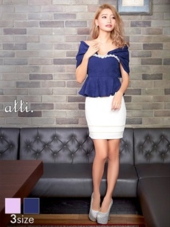 [SMLサイズ]レース裾パールぺプラムタイトオフショルミニドレス[3サイズ展開]