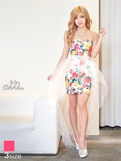 [SMLサイズ]花柄スカラップカットタイトミニドレス[3サイズ展開]