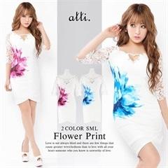 [SMLサイズ]サイド大判flowerプリントタイトミニドレス[3サイズ展開]