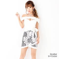 9/7UP[SMLサイズ]オフショルレースラップ風ミニタイトドレス[3サイズ展開]