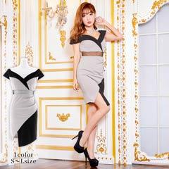 [SMLサイズ]バイカラーアシメスカートタイトミニドレス[3サイズ展開]