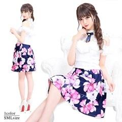 4/22UP[SMLサイズ]ノースリ花柄プリントAラインフレアミニドレス[3サイズ展開]