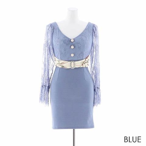 [MOARADY][SMLサイズ]クラシカルレース袖タイトミニドレス[3サイズ展開](ブルー-Sサイズ)