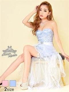 [2way][S/Mサイズ]巻きスカート付き総レースベアインナーミニロングドレス[2サイズ展開]