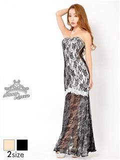 [S/Mサイズ]シースルー総レース背中編み上げベアマーメイドロングドレス[2サイズ展開]