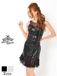 [S/Mサイズ]デコルテ透け総スパンコール裾チュールタイトミニドレス[2サイズ展開]