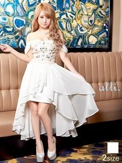 [S/Mサイズ]オフショル純白インナーミニテールカットロングドレス[2サイズ展開]