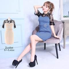 [SMLサイズ]ハイネック袖付きレースタイトミニドレス[3サイズ展開]