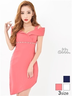 [SMLサイズ]ワンカラーオフショル風裾アシメタイトドレス[3サイズ展開]