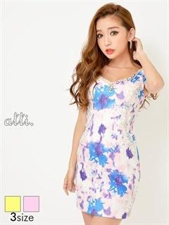 [SMLサイズ]サイドレース水彩花柄裾オーガンジースリットタイトミニドレス[3サイズ展開]