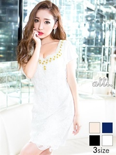 [SMLサイズ]贅沢パール&ビジュー袖フリルレースタイトミニドレス[3サイズ展開]