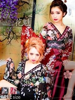 ◇dazzystore2017花魁◇カラービジュー付き和牡丹柄着物風ロングドレス[送料無料]
