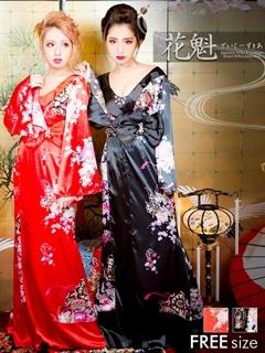 ◇dazzystore2017花魁◇パール&ビジュー付ウエストリボン付和柄着物風振袖ロングドレス
