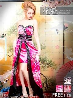 小花柄ベア和柄着物風インナーミニロングドレス