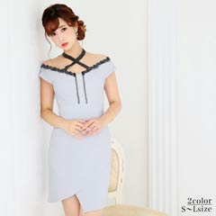 10/14UP[SMLサイズ]ネッククロスデザインペールカラータイトミニドレス[3サイズ展開]