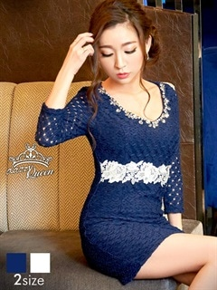 [S/Mサイズ]胸元ビジュー&パール付き七分袖総レースタイトミニドレス[2サイズ展開]