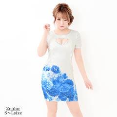 10/10UP[SMLサイズ]谷間ホール付flowerプリントタイトミニドレス[3サイズ展開]