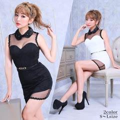 [SMLサイズ]襟付き総レースタイトミニドレス[3サイズ展開]