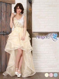 【P★10倍】[Angel R]背中見せ透け見せノースリテールカットロングドレス[AR7209][送料無料]