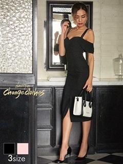 [SMLサイズ]フロントスリットオフショルキャミタイトドレス[3サイズ展開][送料無料]