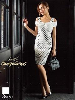 [SMLサイズ]水玉柄サマーニットオフショルタイトドレス[3サイズ展開][送料無料]