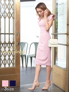 [SMLサイズ]ワンカラーフリル袖タイト膝丈ドレス[3サイズ展開][送料無料]
