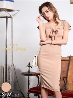 [S/Mサイズ]フロントダブルリボンタイトドレス[2サイズ展開][送料無料][change clothes]