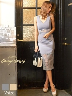[S/Mサイズ]ノースリVカット透けレースタイトドレス[2サイズ展開][送料無料][change clothes]