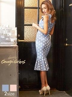 [S/Mサイズ]ドット柄ウエストカットアウトマーメイドタイトドレス[2サイズ展開][送料無料][change clothes]