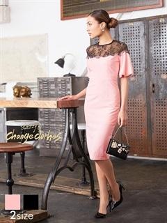 [S/Mサイズ]デコルテ透けレースバルーンスリーブタイトドレス[2サイズ展開][送料無料][change clothes]