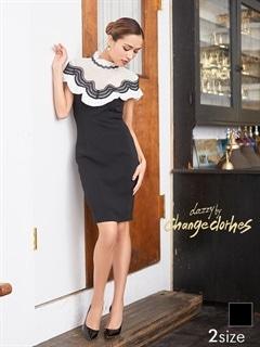 [S/Mサイズ]デコルテ透けギャザースリーブハイネックタイトドレス[2サイズ展開][送料無料]