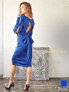 [S/Mサイズ]リボン付ワンカラーバックカットアウトタイトドレス[2サイズ展開][送料無料][change clothes]