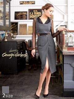 [2ピース][SMサイズ]Vカットシースルビスチェ付きチェックタイトドレス[2サイズ展開][change clothes]