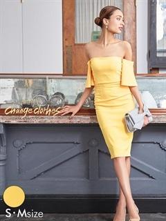[S/Mサイズ]パステルワンカラーフレアオフショルタイトドレス[2サイズ展開][送料無料][change clothes]