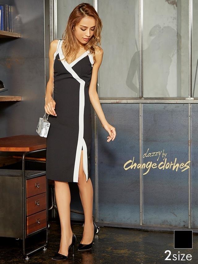 [S/Mサイズ]スリット入りバイカラーラインタイトドレス[2サイズ展開][送料無料]&#8221; /></span></div> <div style=