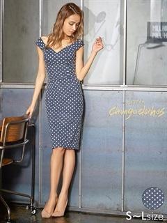 [S/M/Lサイズ]ハートカットドット柄オフショルタイトドレス[3サイズ展開][送料無料][7/3再入荷]
