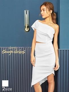 [2ピース][S/Mサイズ]ワンショルアシメスリットタイトドレス[2サイズ展開][送料無料]