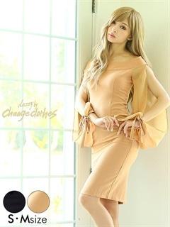 [S/Mサイズ]透け長袖リボンワンカラーオフショルタイトドレス[2サイズ展開][送料無料]