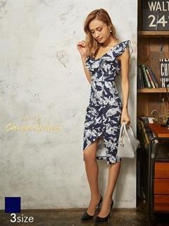 [SMLサイズ]花柄スリット入りオフショルタイトドレス[3サイズ展開][送料無料]