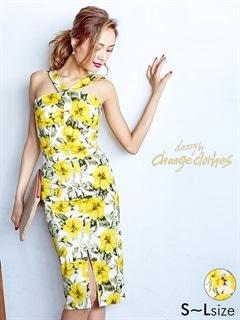 [SMLサイズ]花柄ノースリタイトドレス[3サイズ展開][送料無料]
