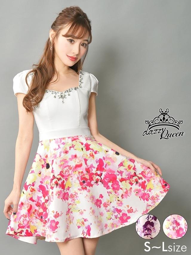 [SMLサイズ]パールビジュー袖付花柄Aラインミニドレス[3サイズ展開]