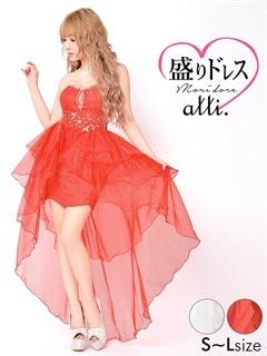 【盛りドレス】[SMLサイズ]谷間見せスカラップロングテールタイトミニドレス[3サイズ展開]