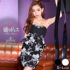 【盛りドレス】[SMLサイズ]ベルトモチーフ花柄ぺプラムベアタイトミニドレス[3サイズ展開]