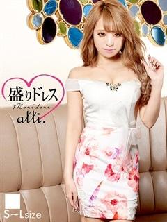 【盛りドレス】[SMLサイズ]花柄ウエストリボンオフショルタイトミニドレス[3サイズ展開]