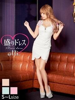 【盛りドレス】[SMLサイズ]花柄谷間見せスカラップカットタイトミニドレス[3サイズ展開]