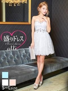 【盛りドレス】[SMLサイズ]ビジュー付きレースチュールベアAラインミニドレス[3サイズ展開][ヌードブラプレゼント中]